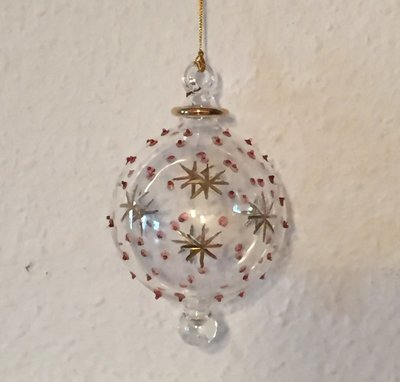 Glass Ball with Stars & Red Dots