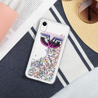 Retro Monogram CDV Liquid Glitter Phone Case