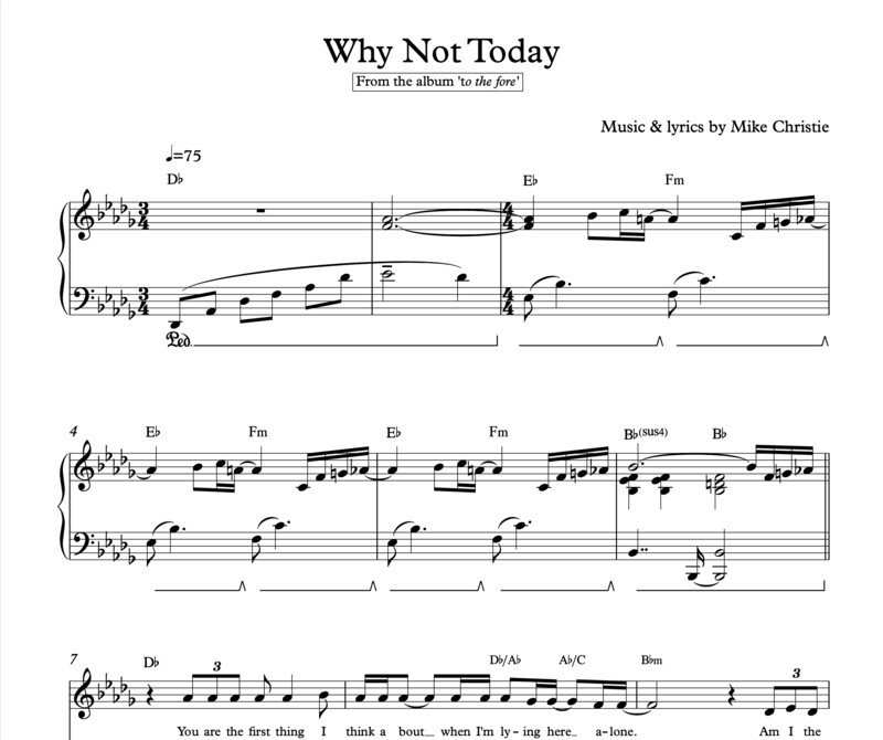 'Why Not Today' Digital Sheet Music
