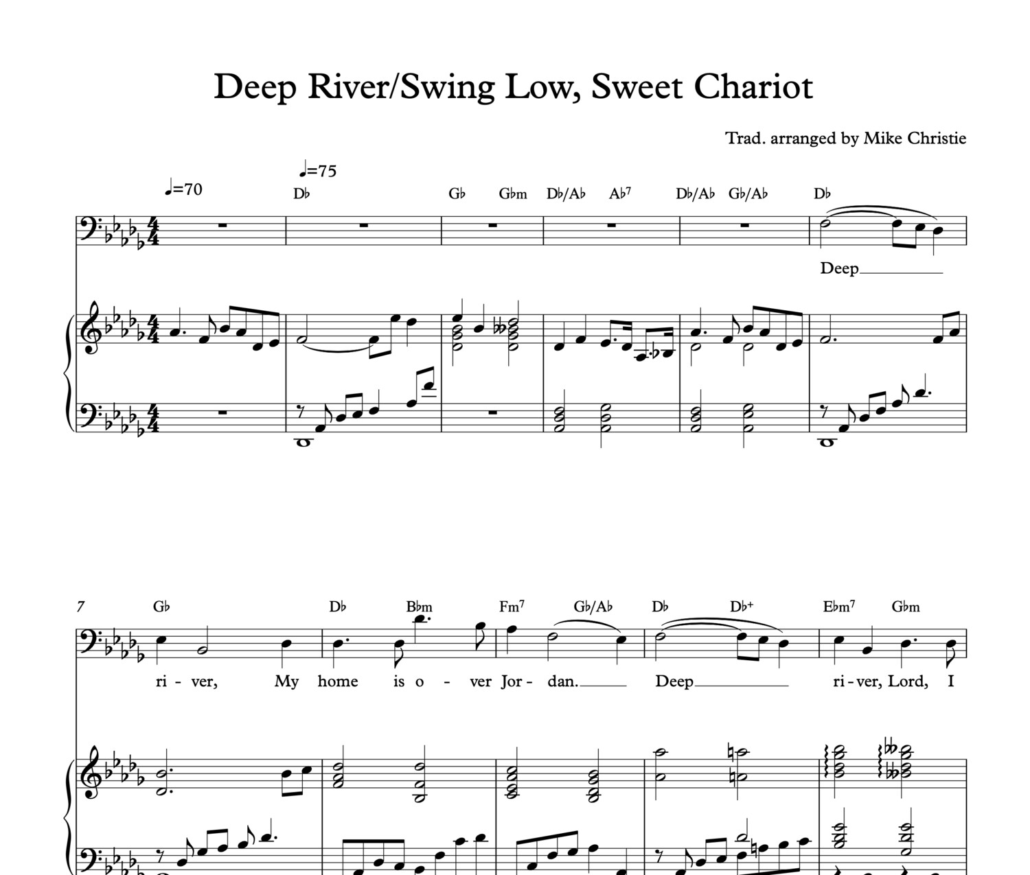 'Deep River/Swing Low, Sweet Chariot' Digital Sheet Music