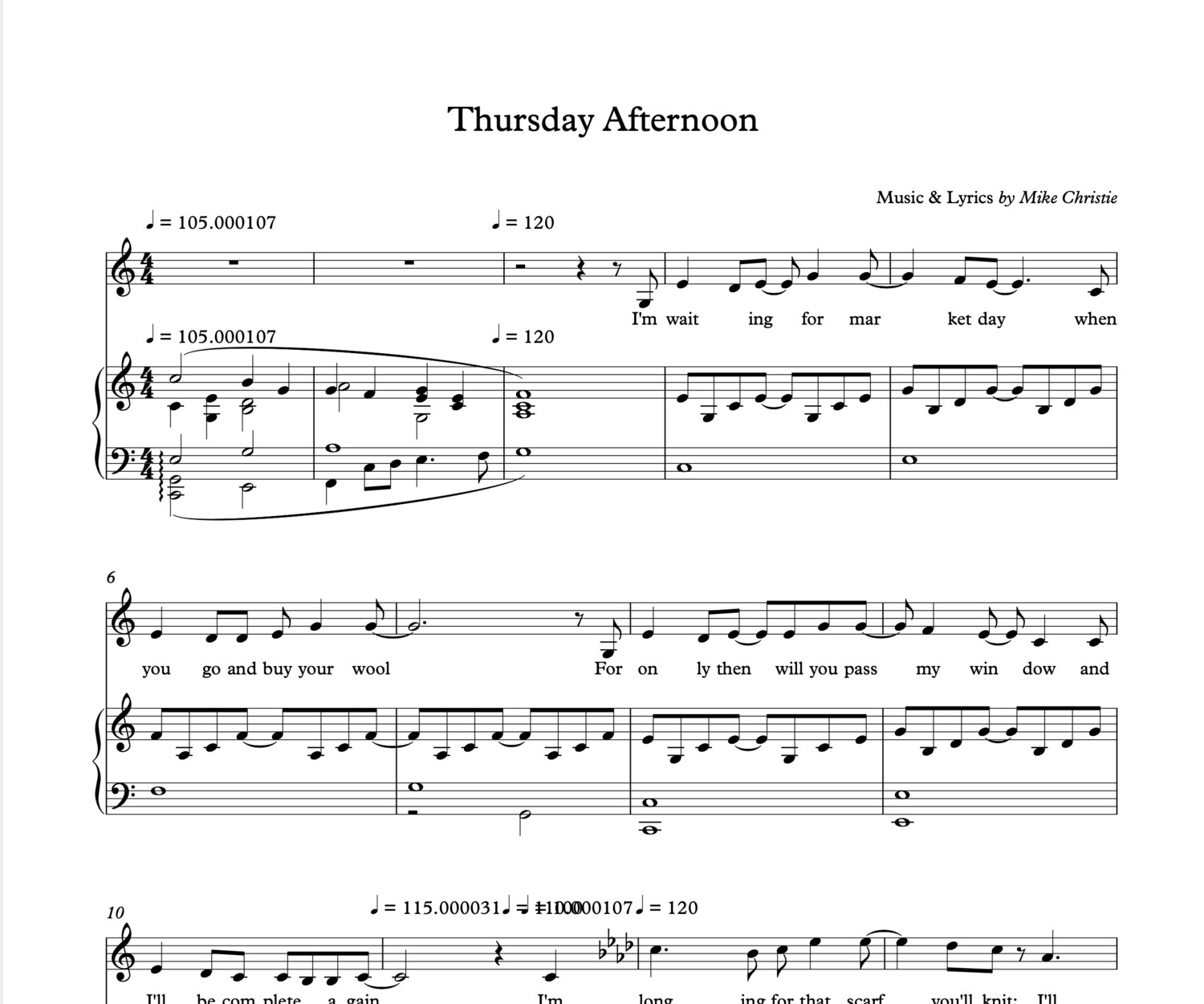 'Thursday Afternoon' Digital Sheet Music