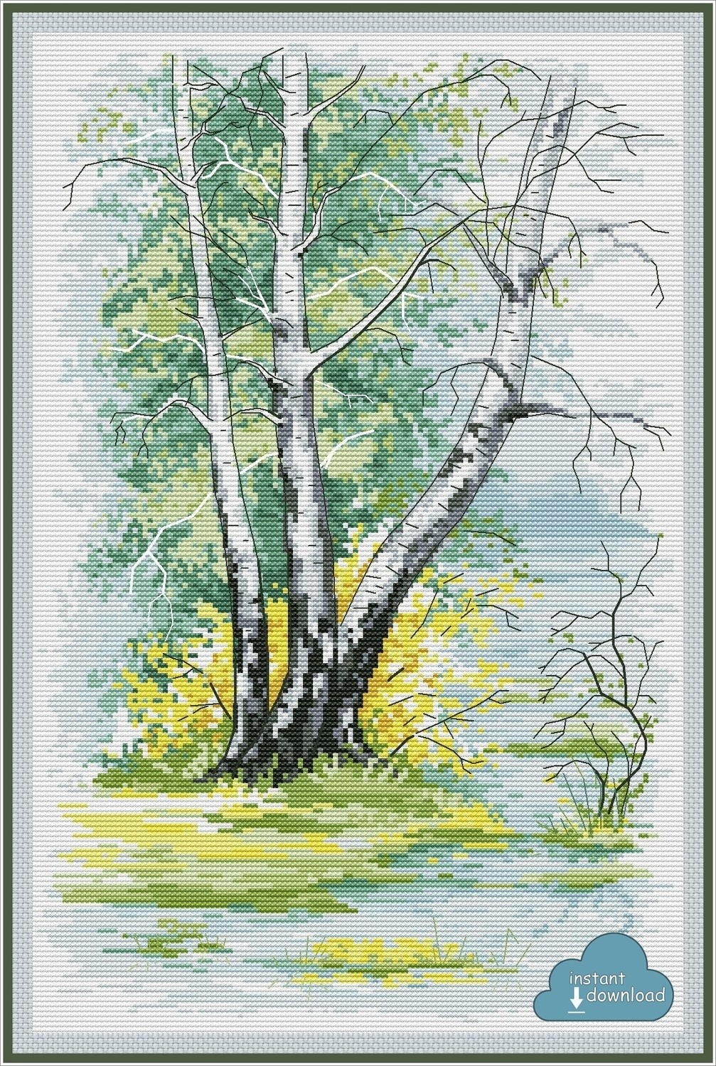 Birch Trees in Spring Cross Stitch Pattern PDF + XSD. Instant Download.