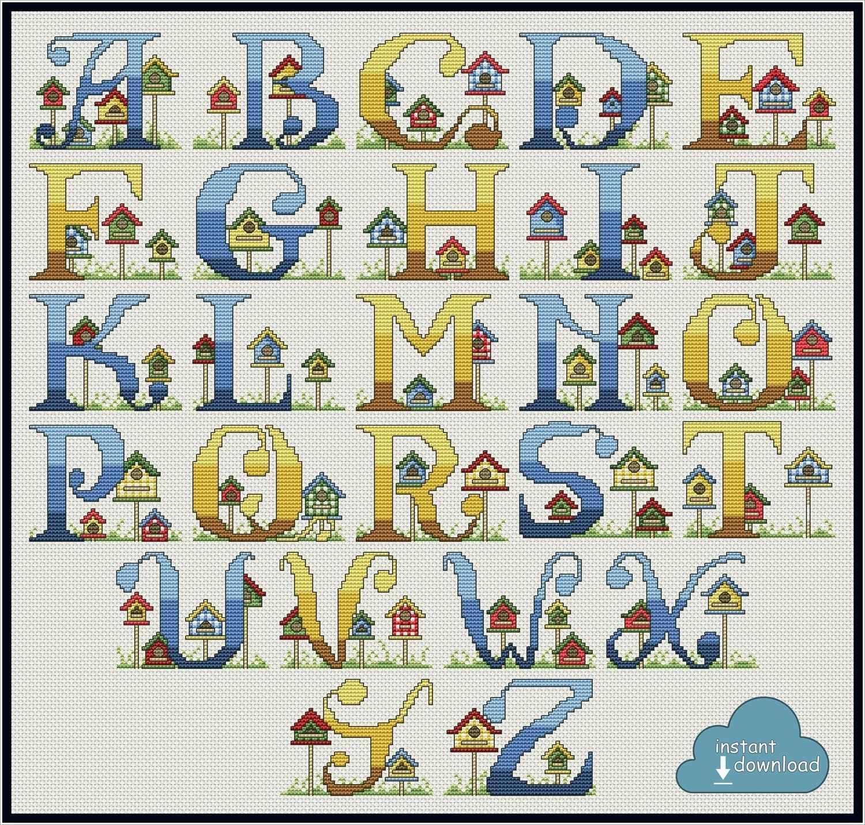 Bird House Alphabet Cross Stitch Pattern PDF + XSD. Bird House ABC. Instant Download