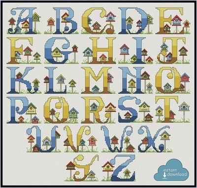 Bird House Alphabet Cross Stitch Pattern PDF + XSD. Bird House ABC. Instant Download