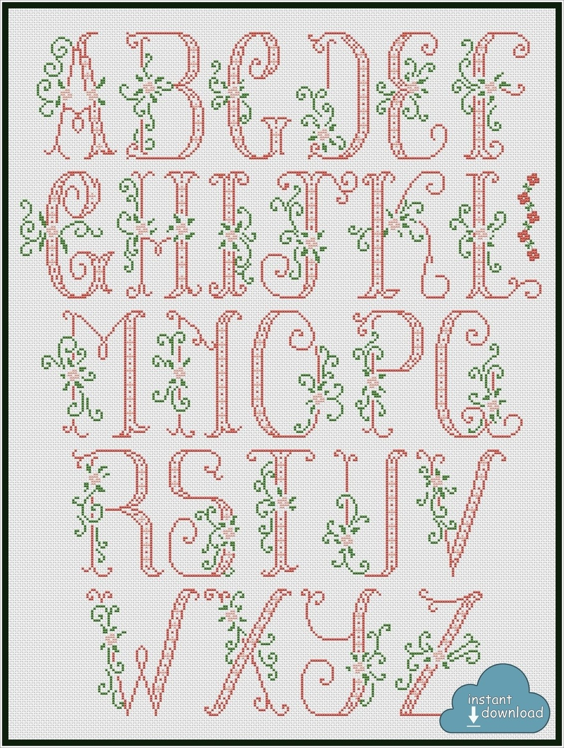 Big Red Floral Letters Alphabet Cross Stitch Pattern PDF + XSD. Floral ABC. Instant Download