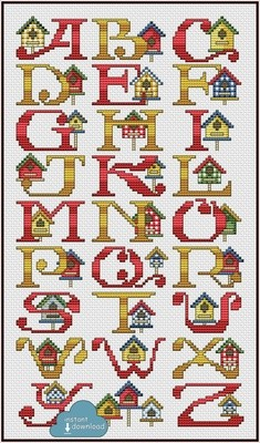 Bird House Alphabet #2 Cross Stitch Pattern PDF + XSD. Bird House ABC. Instant Download