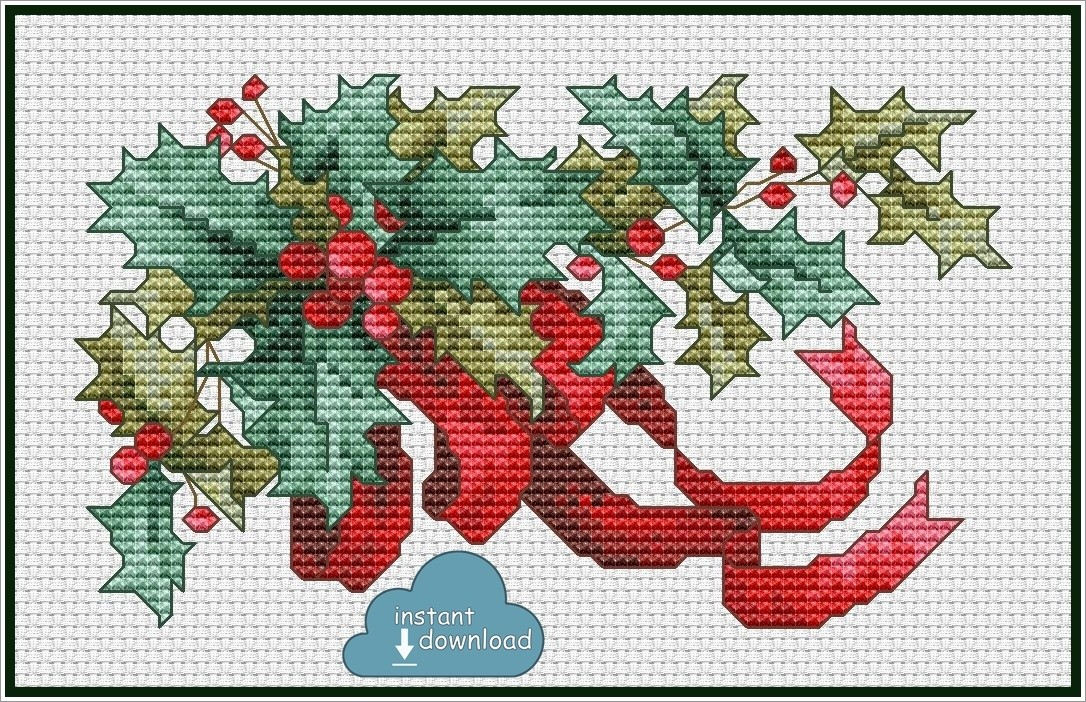Christmas Holly Cross Stitch Pattern PDF + XSD. Instant Download.