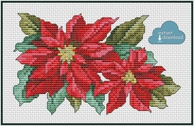 Poinsettia Cross Stitch Pattern PDF + XSD. Instant Download.