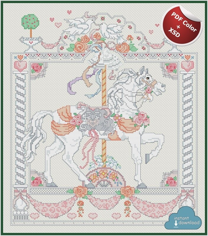 Carousel Horses June Cross Stitch Pattern PDF Color + XSD. Instant Download. Only 1 in stock!
