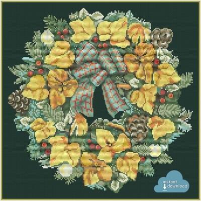Festive Wreath Cross Stitch Pattern PDF + XSD. Instant Download