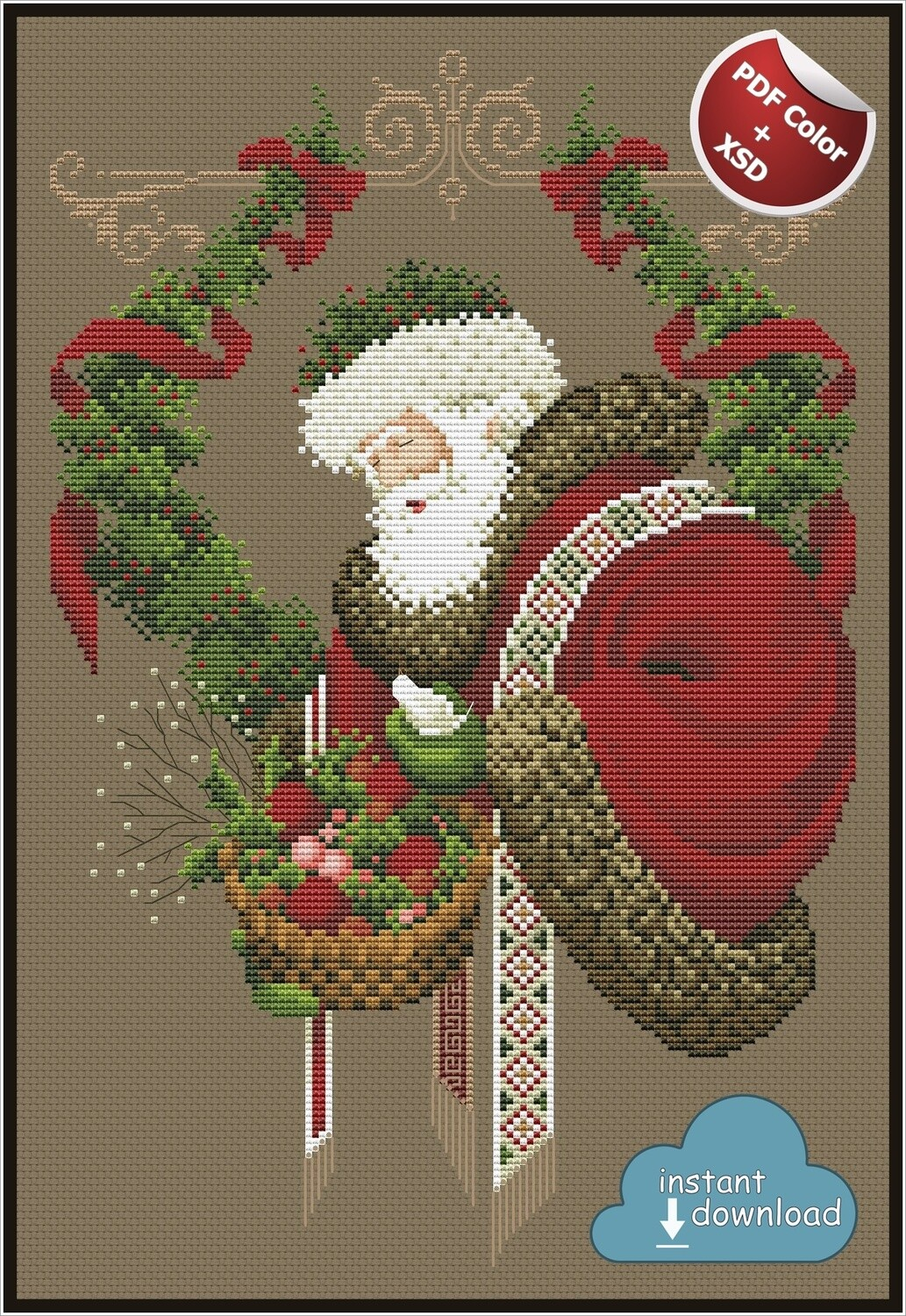 Gift of Peace Christmas Cross Stitch Pattern PDF + XSD. Instant Download. Only 4 in stock!