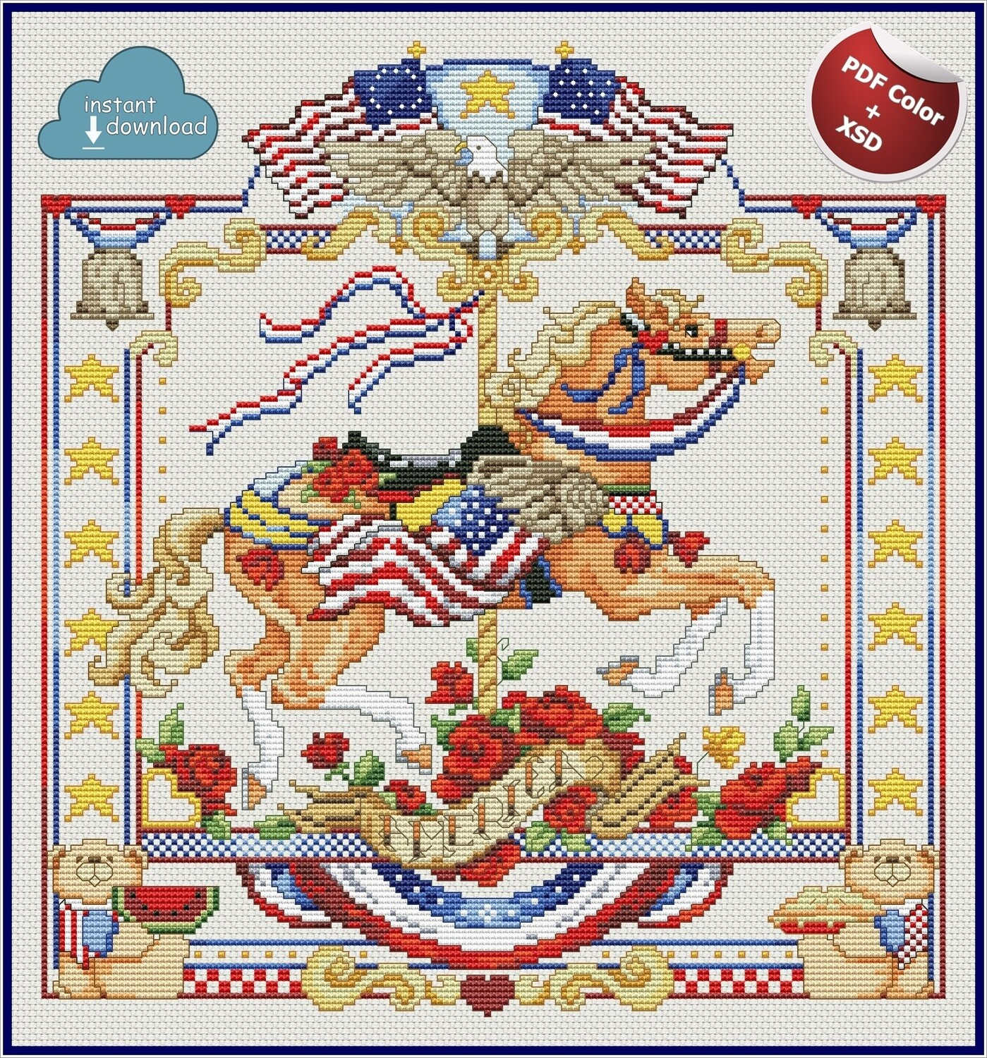 Carousel Horses July Cross Stitch Pattern PDF Color + XSD. Instant Download. Only 1 in stock!