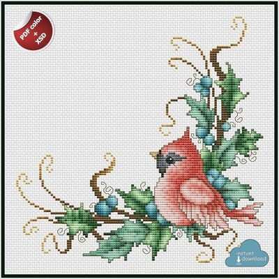 Christmas Cardinal Cross Stitch Pattern PDF Color + XSD. Instant Download.