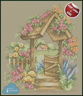 Rose Garden Cross Stitch Pattern PDF + XSD. Instant Download. Only 5 in stock!