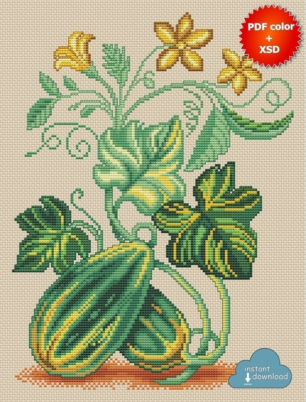 Zucchini Cross Stitch Pattern PDF + XSD. Instant Download. Only 5 in stock!
