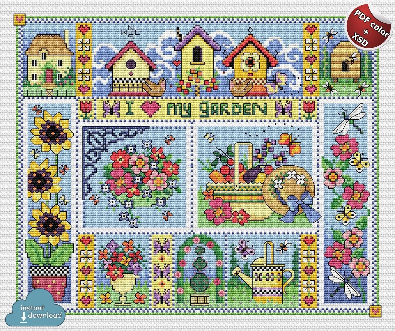 Love my Garden Cross Stitch Pattern PDF + XSD. Instant Download. FREE