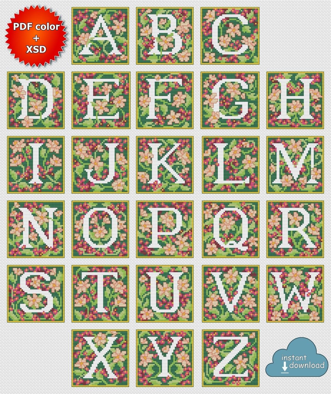 Tapestry Alphabet Monogram Cross Stitch Pattern PDF + XSD. Tapestry ABC Cross Stitch Chart PDF. Instant Download