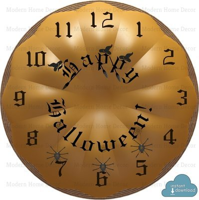 """Happy Halloween"" Printable DIY Clock Face. Instant Download."
