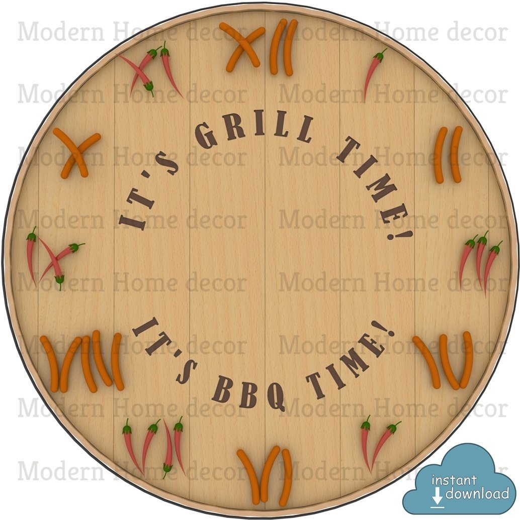 """It's Grill Time! It's BBQ Time!"" Printable DIY Clock Face. Instant Download."