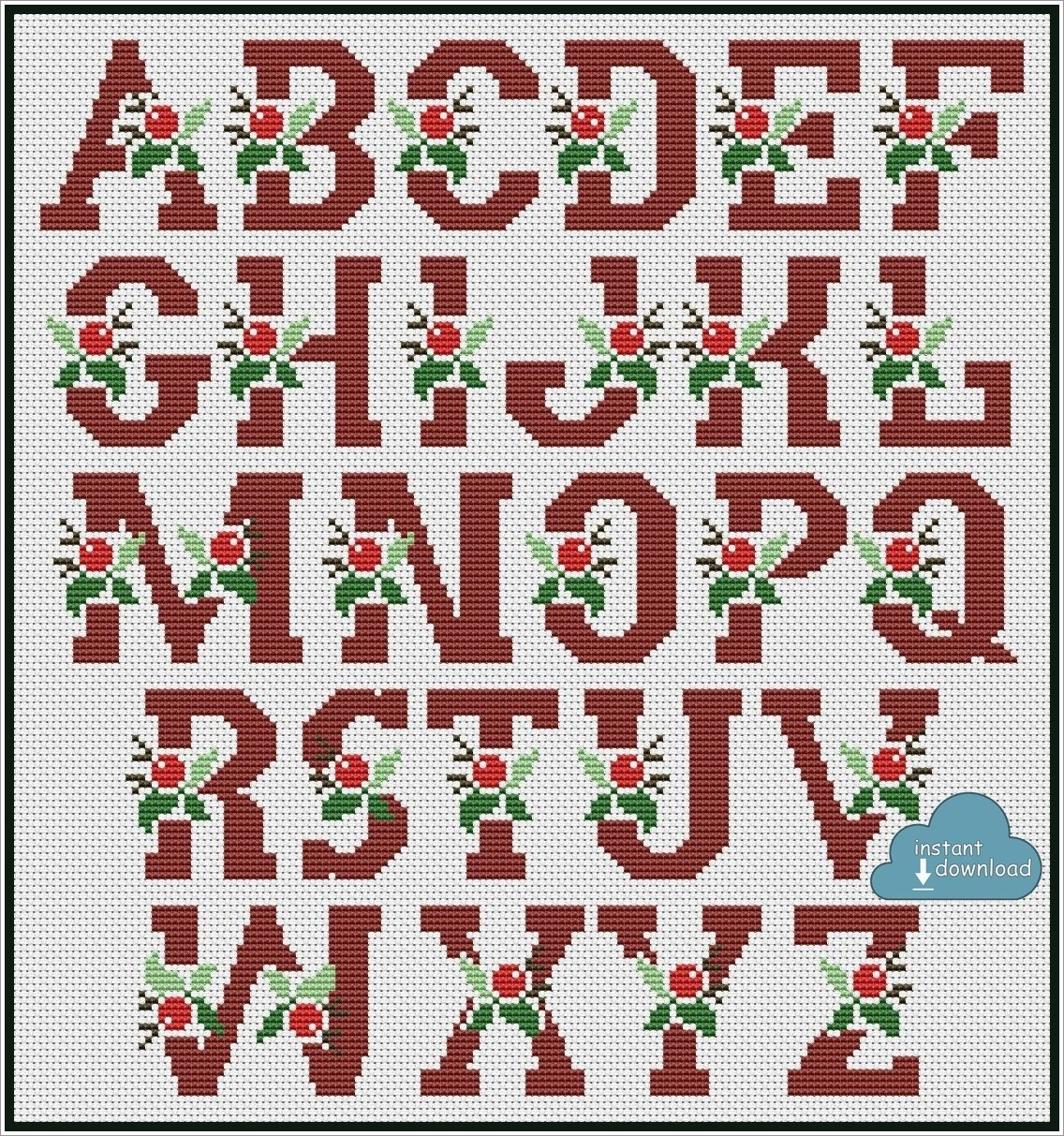 Christmas Berry Alphabet Cross Stitch Pattern PDF + XSD. Instant Download