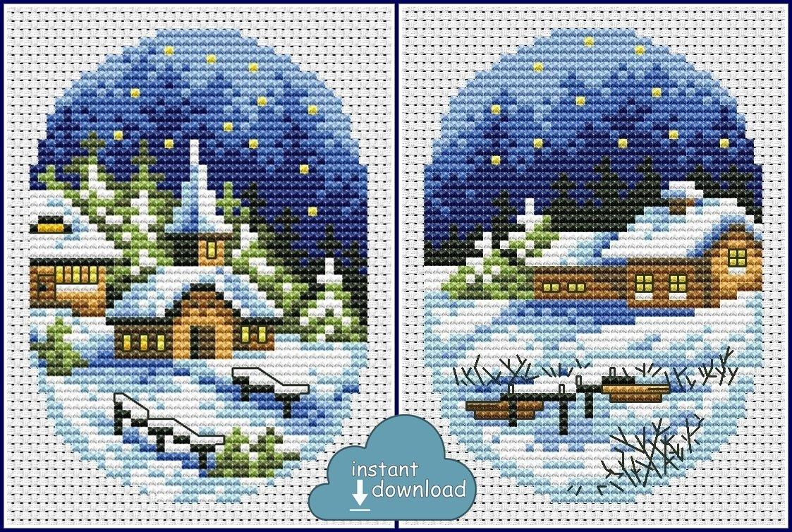 Christmas Village Cards Set #2 Cross Stitch Pattern PDF + XSD. Instant Download