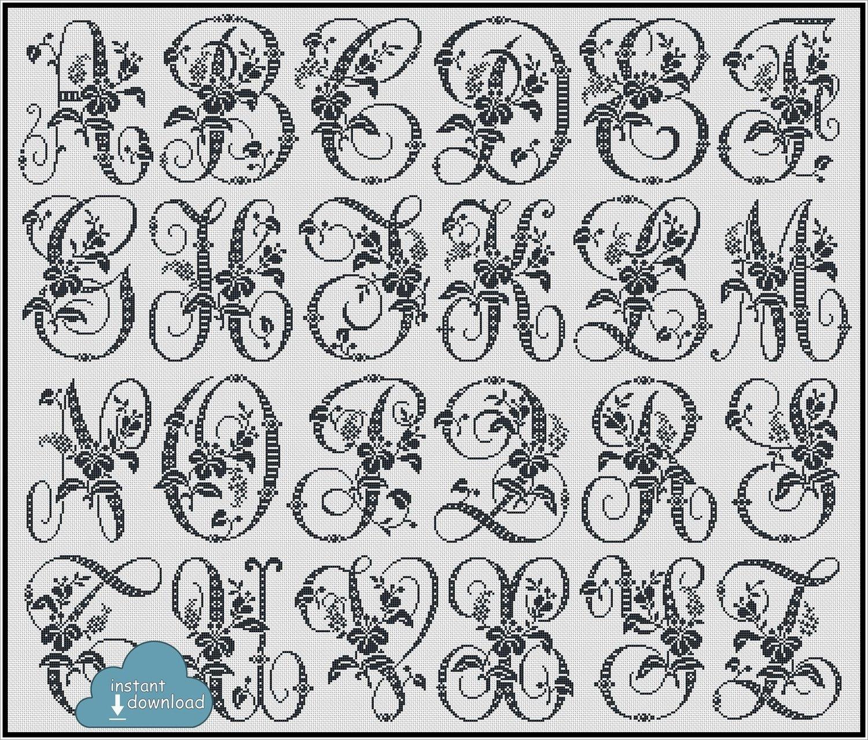 Antique Alphabet Monogram Cross Stitch Pattern PDF + XSD. Flowers ABC Cross Stitch Chart PDF. Instant Download