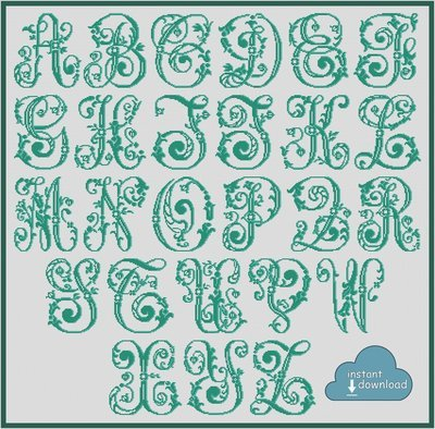 Antique Alphabet Monogram Cross Stitch Pattern PDF + XSD. Floral ABC Cross Stitch Chart PDF. Instant Download
