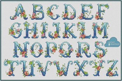 Floral Alphabet Monogram Cross Stitch Pattern PDF + XSD. Flowers ABC Cross Stitch Chart PDF. Instant Download