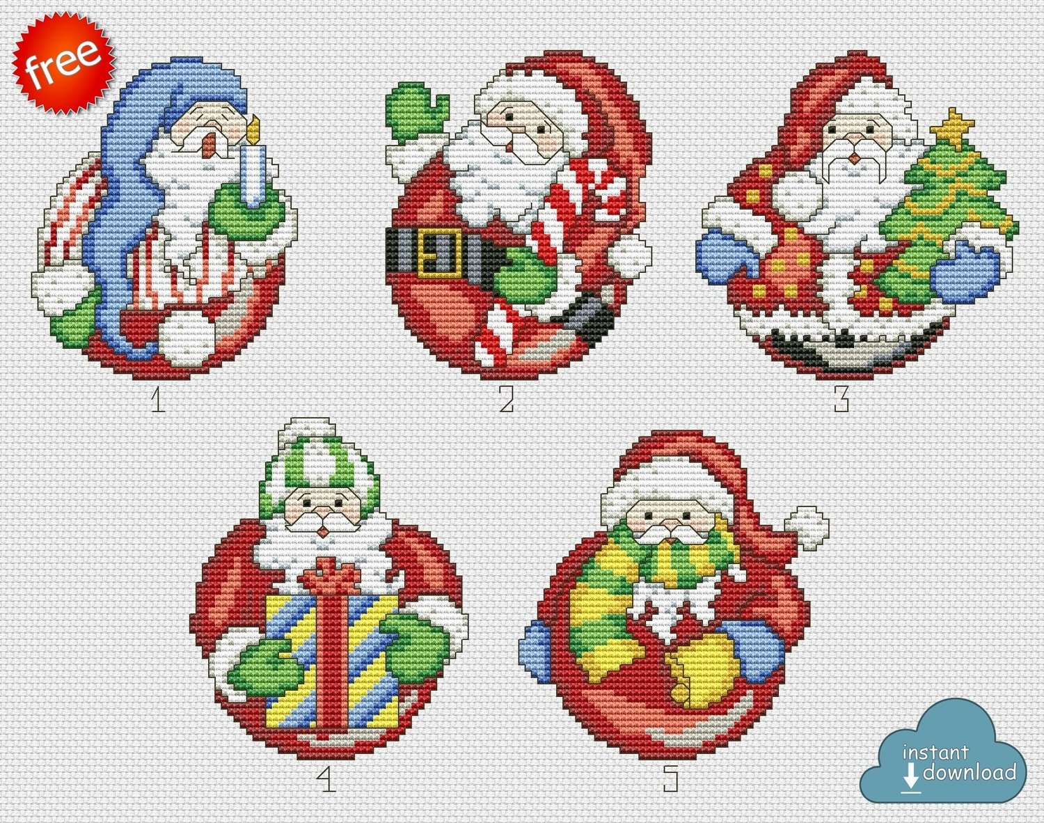 Merry Christmas Santa Cross Stitch Pattern PDF + XSD. Instant Download. Free