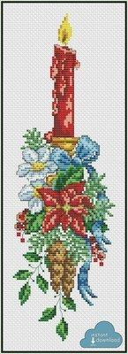 Christmas Candle Cross Stitch Pattern PDF + XSD. Christmas Flowers Cross Stitch Chart. Instant Download.