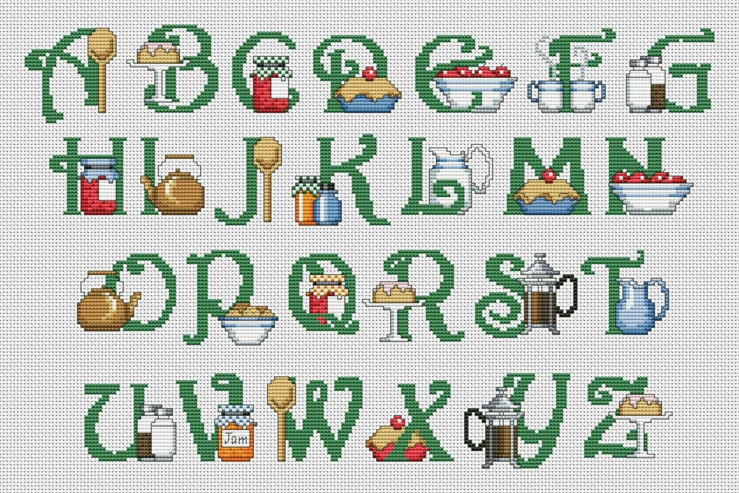 Kitchen Abc Cross Stitch Pattern Pdf Xsd Download