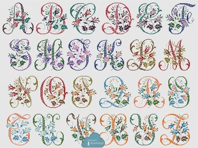 Antique Alphabet Monogram Multi-Color Cross Stitch Pattern PDF + XSD. Wild Roses ABC Cross Stitch Chart PDF. Instant Download