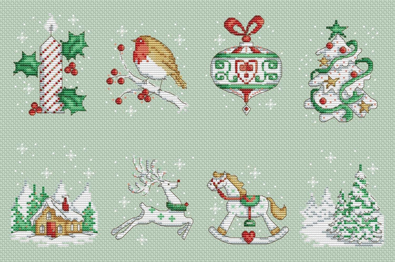 Christmas Motifs Set Cross Stitch Pattern Pdf Xsd