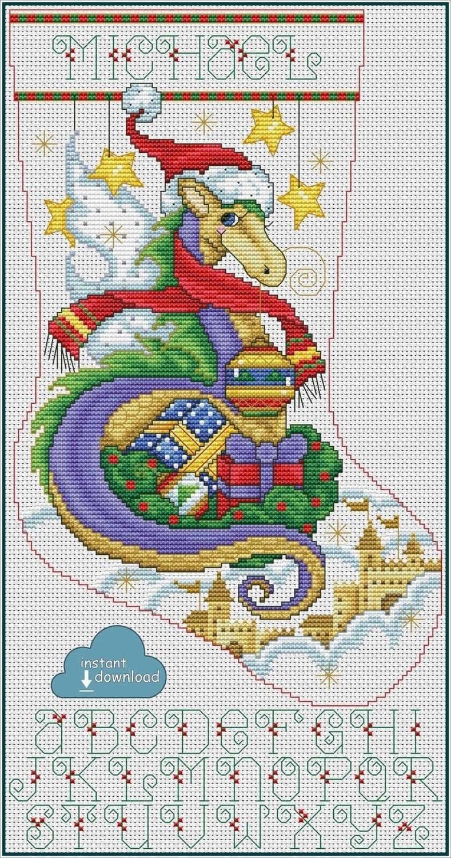 Christmas Dragon Stocking Cross Stitch Pattern PDF + XSD. Instant Download.