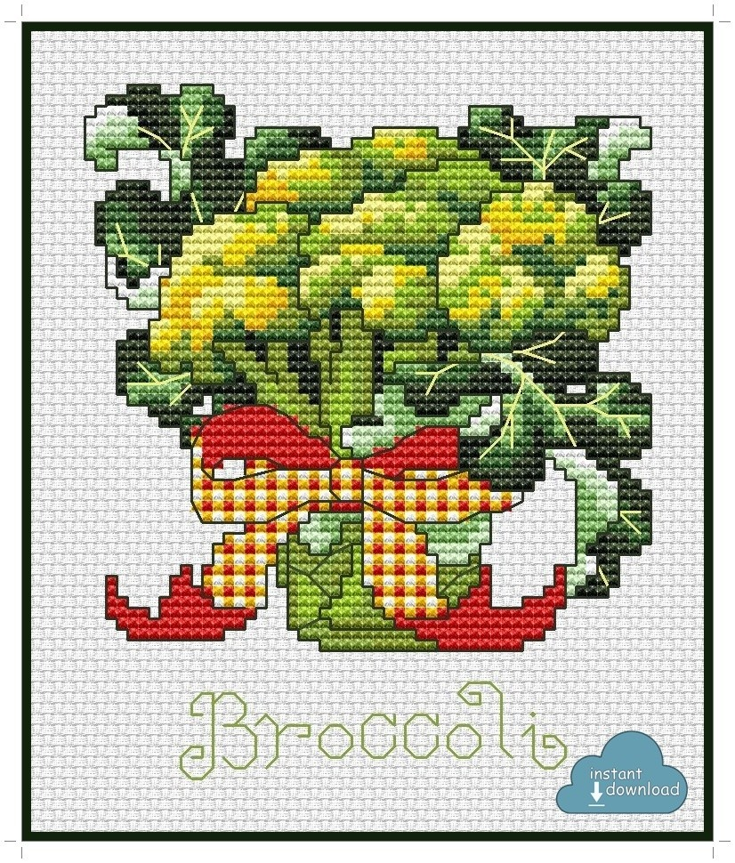 Broccoli Cross Stitch Pattern PDF + XSD. Instant Download.