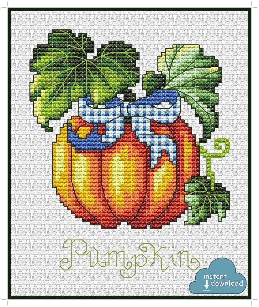Pumpkin Cross Stitch Pattern PDF + XSD. Instant Download.