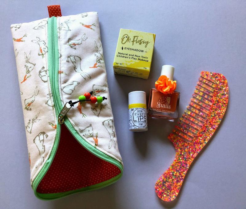 Handmade Makeup Gift Bag - orange bunnies