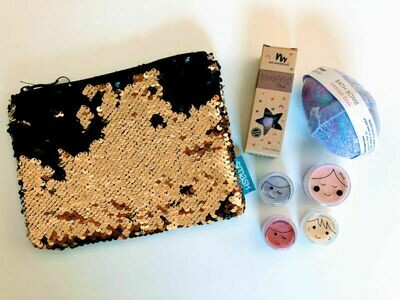 Play Makeup Gift Bag - Black & Gold Sequins