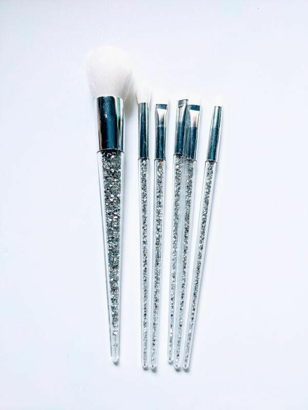 Makeup Brush Set Silver Sparkles