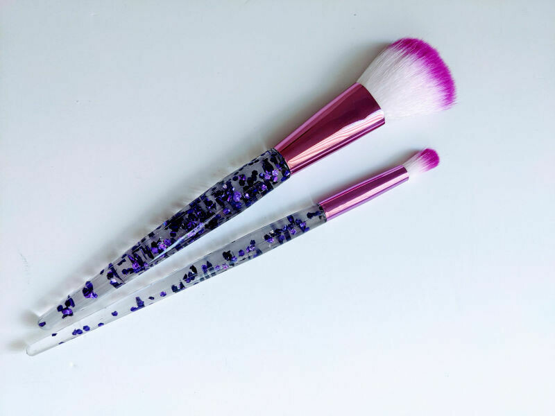 Makeup Brush Duo Purple Sparkles