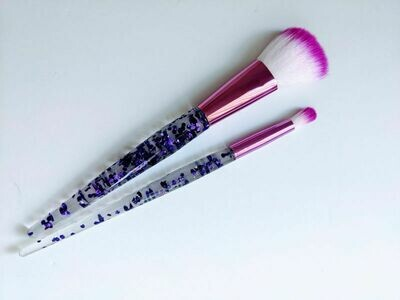 Makeup Brush Duo Purple Sparkles