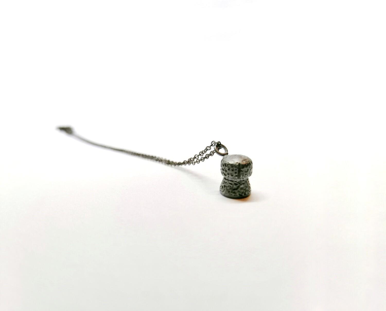 Black Silver Champagne Cork Pendant Necklace
