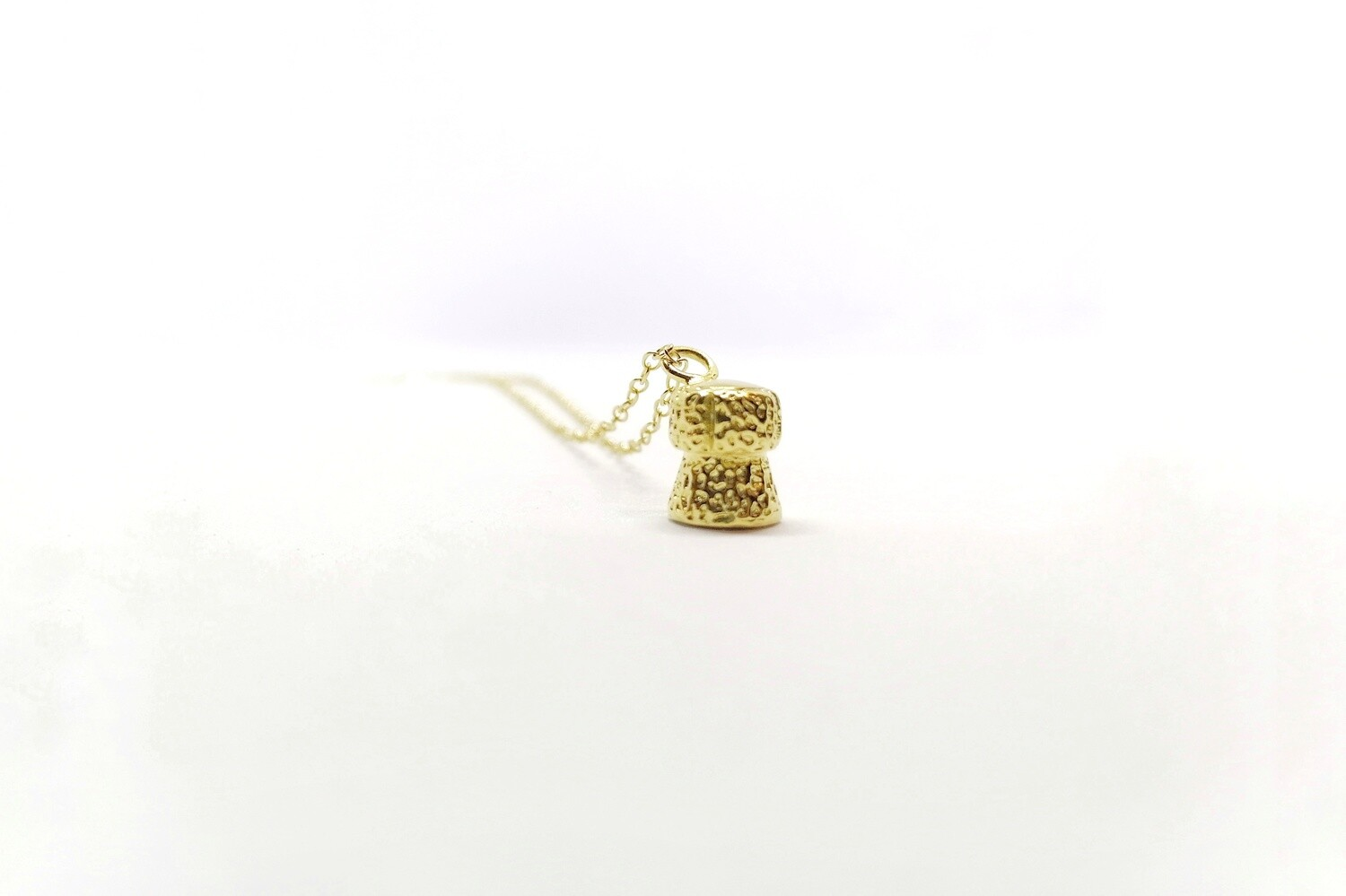 Yellow Gold Champagne Cork Pendant Necklace
