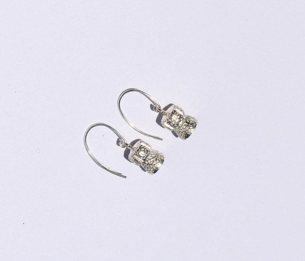Champagne Cork Silver Earrings