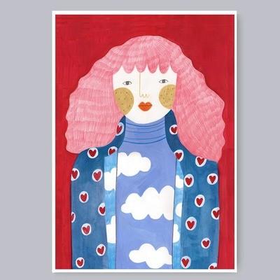 PINK HAIR GIRL print