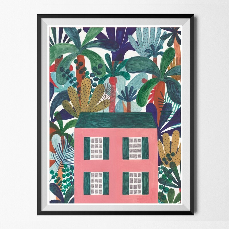 JUNGLE HOUSE painting A2