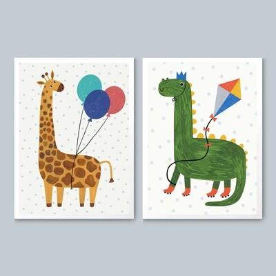 GIRAFFE AND DINO print set