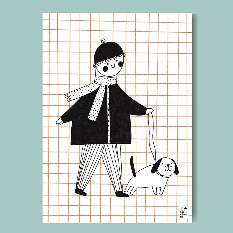 WALK WITH THE DOG A3 print