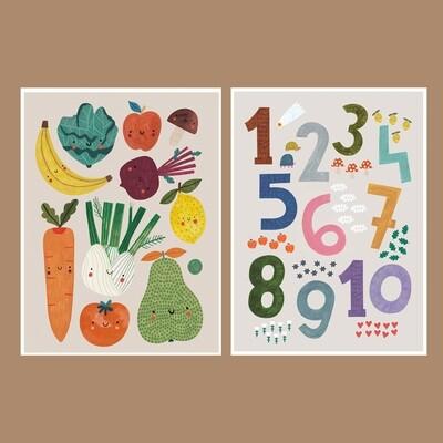 FRUITS&VEGGIES + NUMBERS print set
