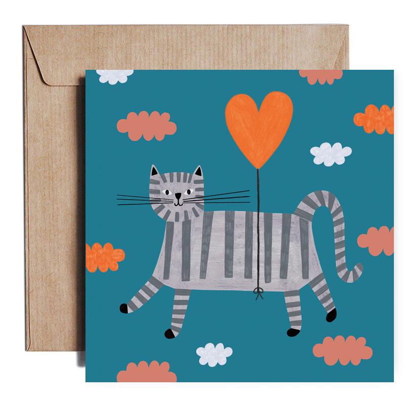 ROSE GOLD FOIL LOVE CAT card